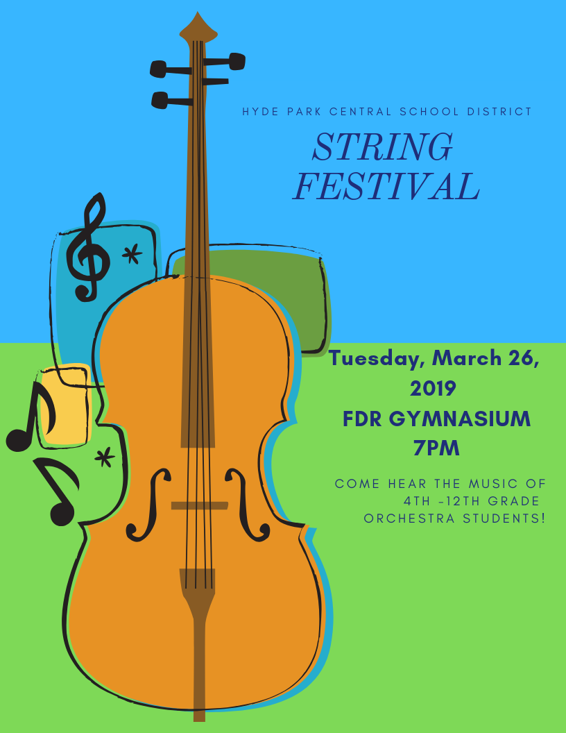District String Festival! Tuesday, March 26th at 7 pm in the FDR Gym
